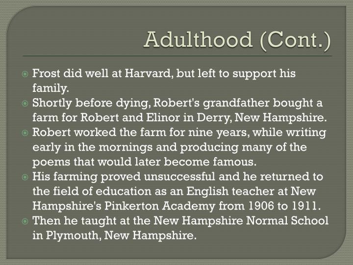 Adulthood (Cont.)