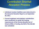 contribution shortfall allocation process