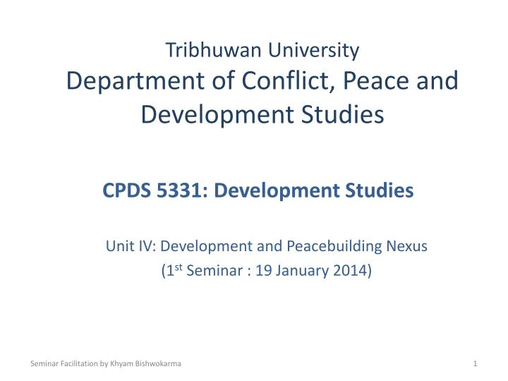 tribhuwan university department of conflict peace and development studies