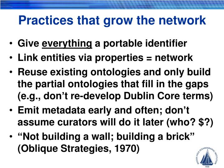 Practices that grow the network