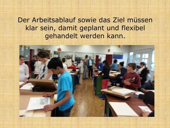 Der Arbeitsablauf sowie das Ziel müssen klar sein, damit geplant und flexibel gehandelt werden kann.