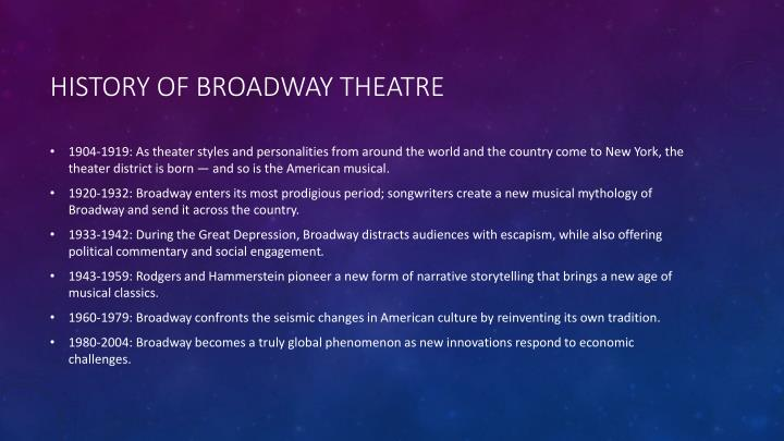 History of broadway theatre