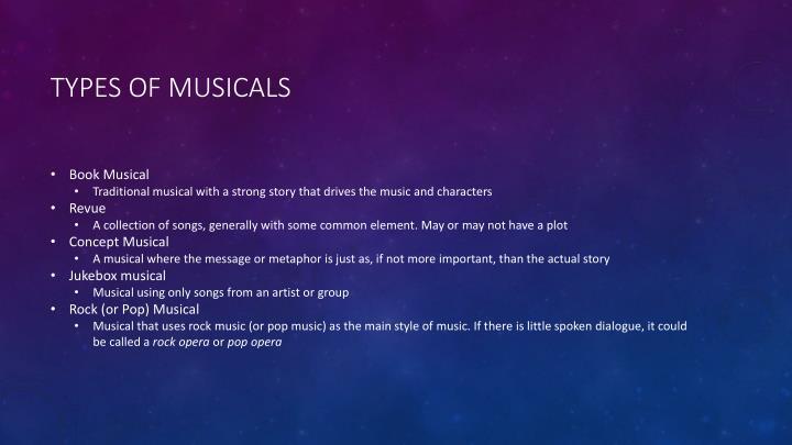 Types of musicals