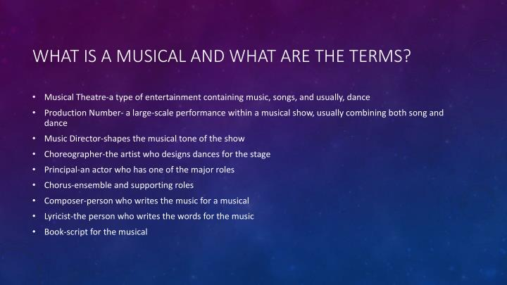 What is a musical and what are the terms