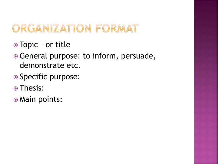 Organization format
