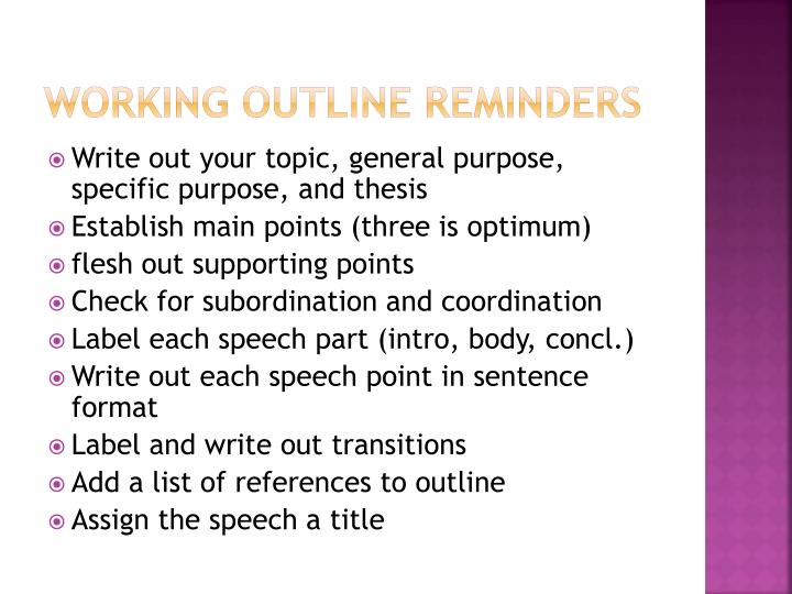 Working outline reminders