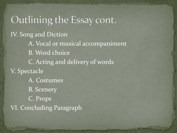 Outlining the Essay cont.