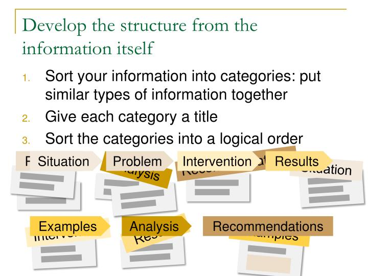 Develop the structure from the information itself