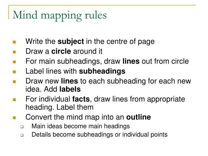 Mind mapping rules