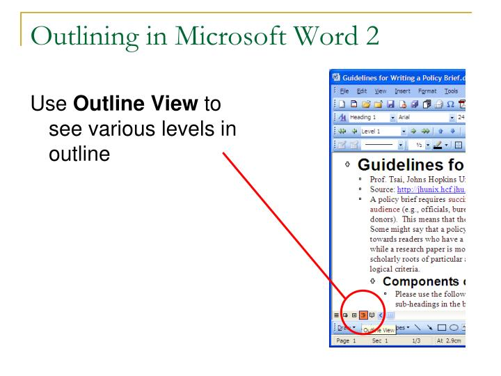 Outlining in Microsoft Word 2