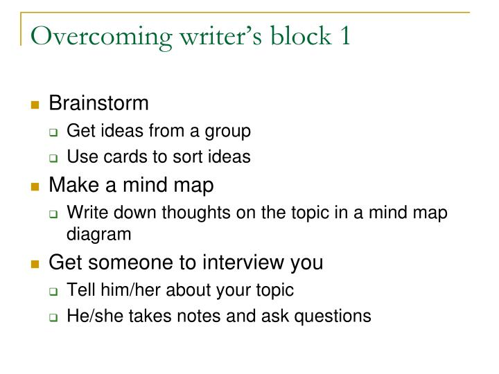 Overcoming writer's block 1