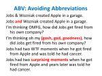 abv avoiding abbreviations
