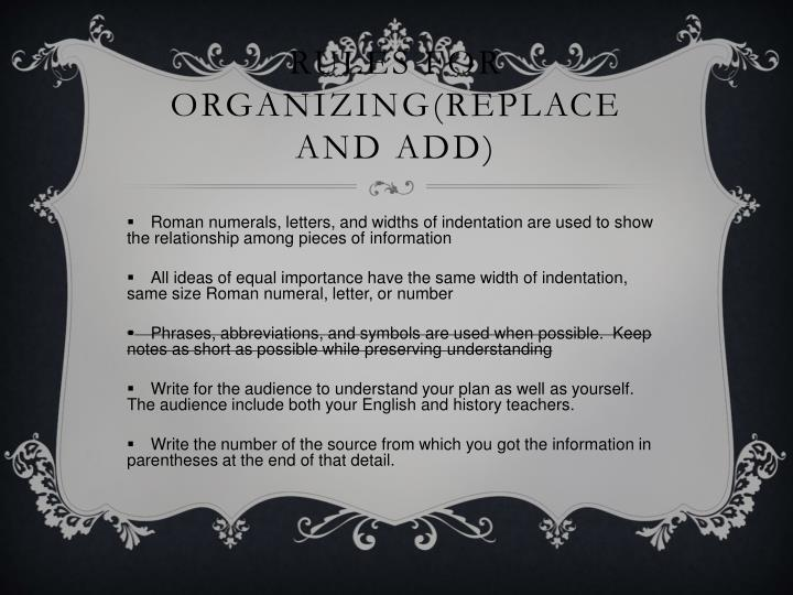 Rules for Organizing(Replace and Add)