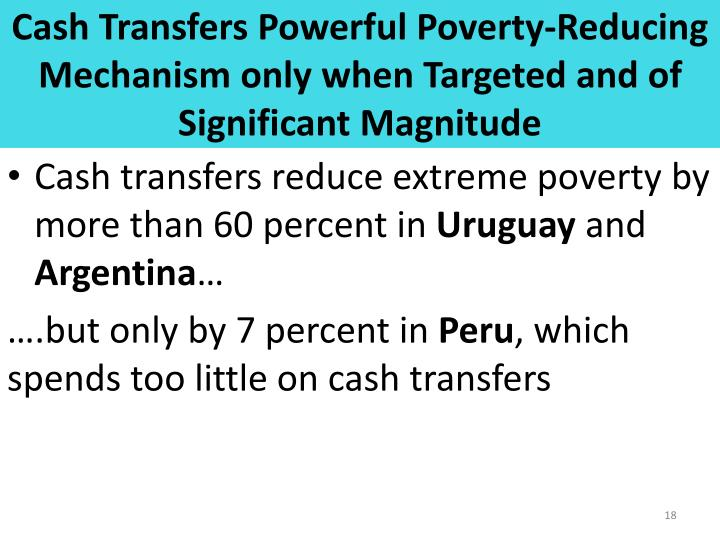 Cash Transfers Powerful Poverty-Reducing Mechanism only when Targeted and of Significant Magnitude