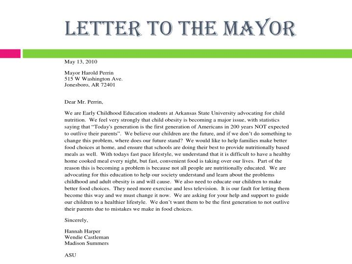 Letter to the mayor