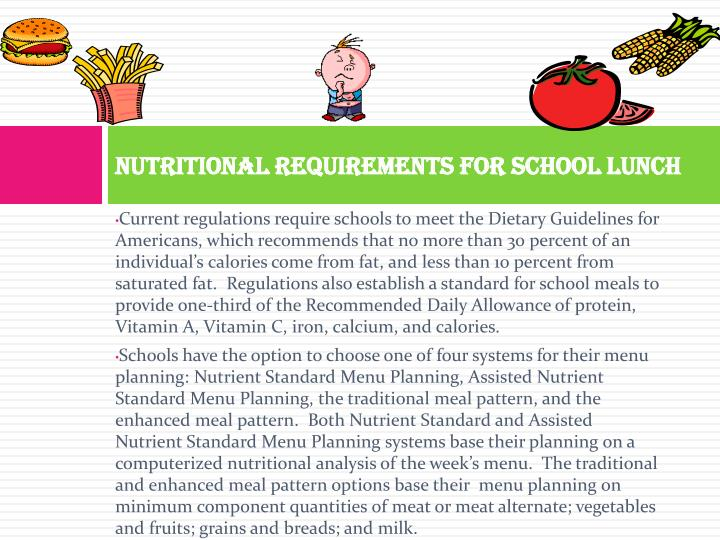 Nutritional Requirements for School Lunch