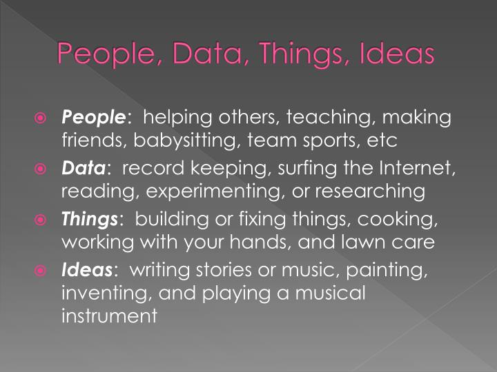 People, Data, Things, Ideas