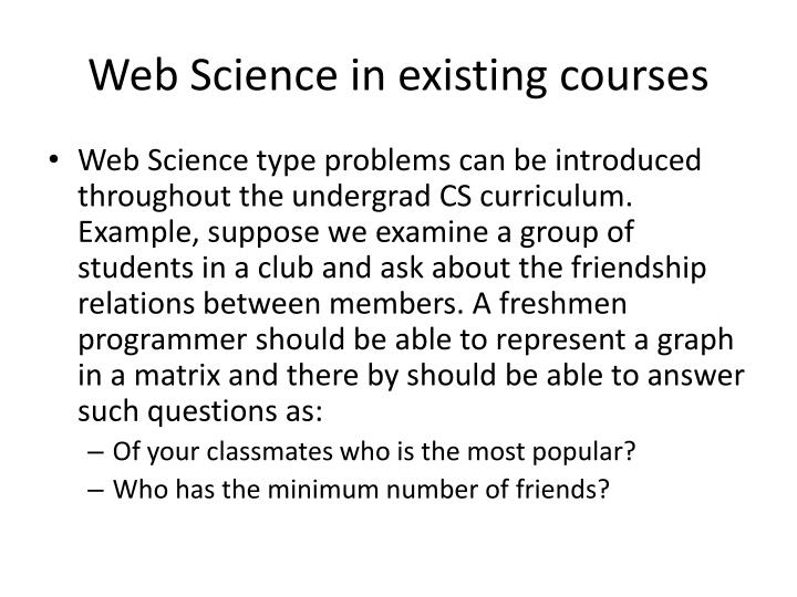 Web Science in existing courses