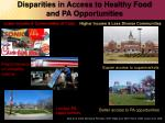 disparities in access to healthy food and pa opportunities