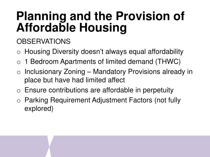 Planning and the Provision of Affordable Housing