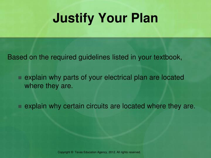 Justify Your Plan