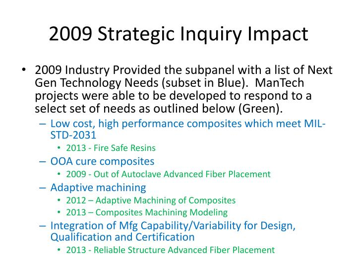 2009 strategic inquiry impact