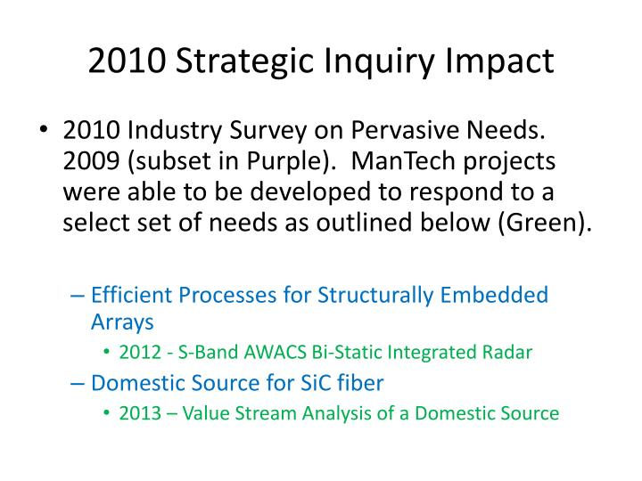 2010 strategic inquiry impact
