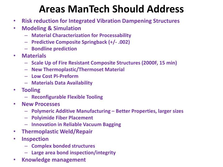Areas ManTech Should Address