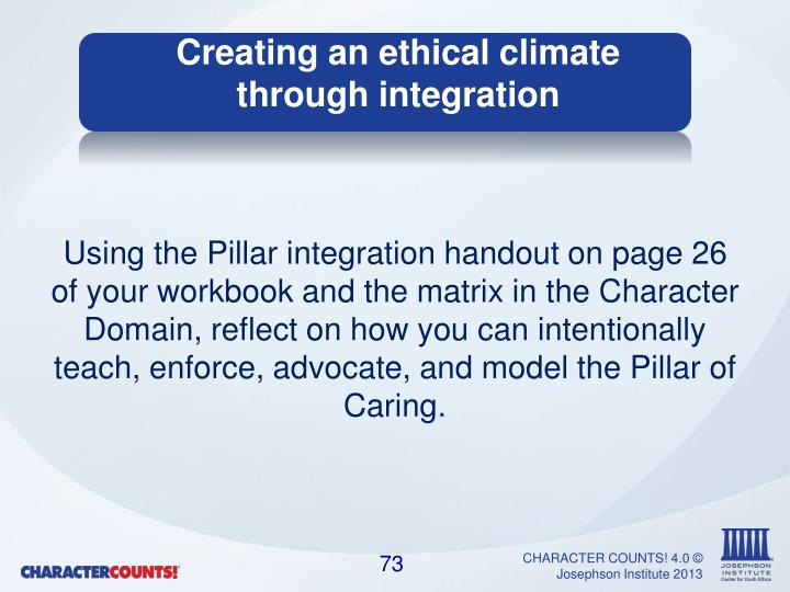 Using the Pillar integration handout on page 26 of your workbook and the
