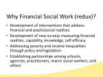 why financial social work redux