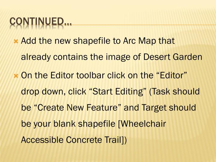Add the new shapefile to Arc Map that already contains the image of Desert Garden