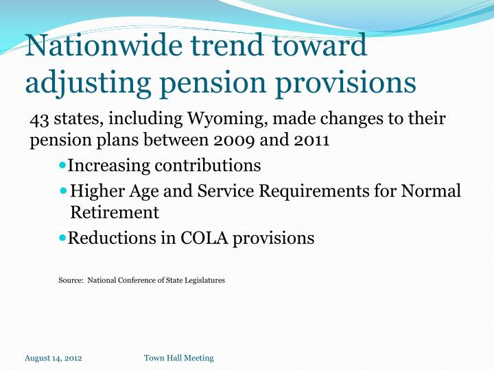 Nationwide trend toward adjusting pension provisions