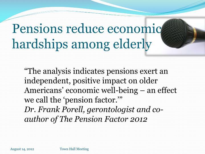 Pensions reduce economic hardships among elderly