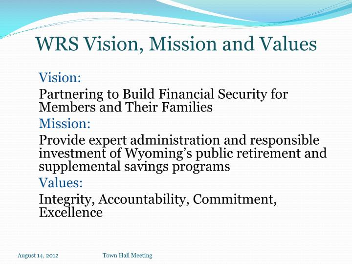 Wrs vision mission and values