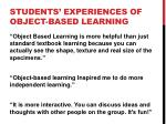 students experiences of object based learning