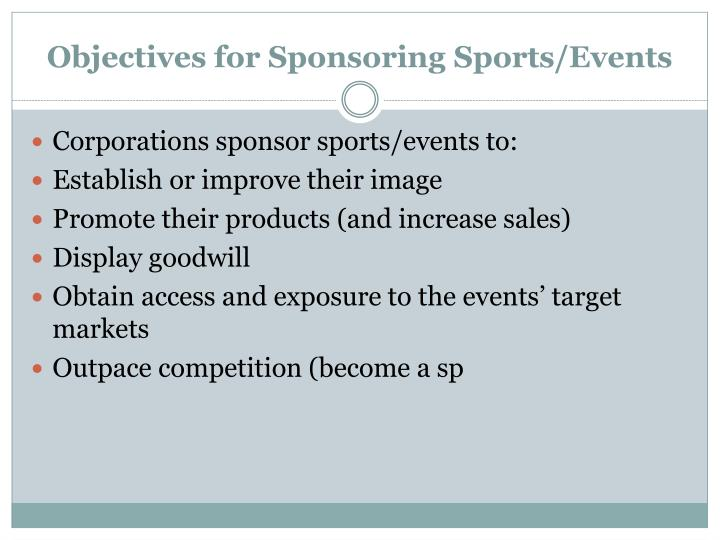 Objectives for sponsoring sports events