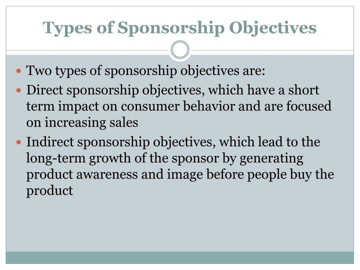 Types of sponsorship objectives