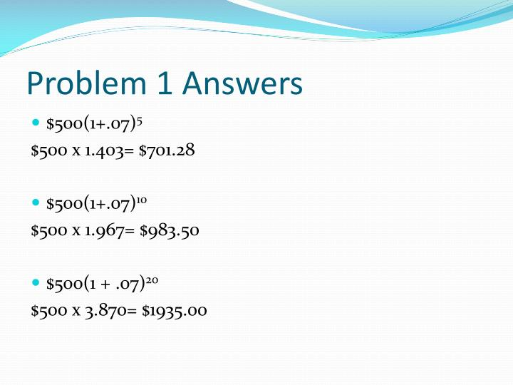 Problem 1 Answers