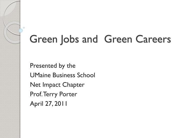 green jobs and green careers n.
