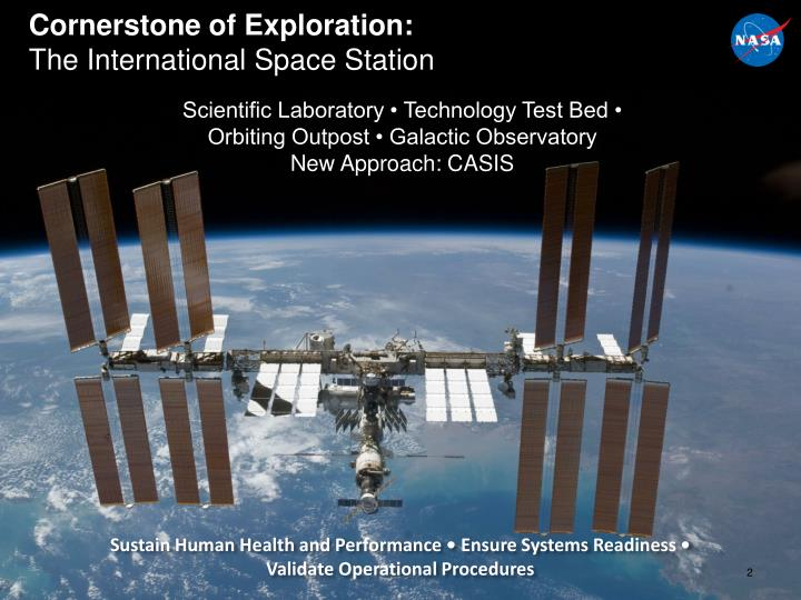 Cornerstone of exploration the international space station