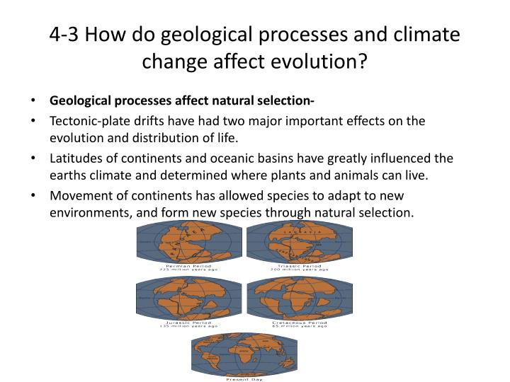4-3 How do geological processes and climate change affect evolution?