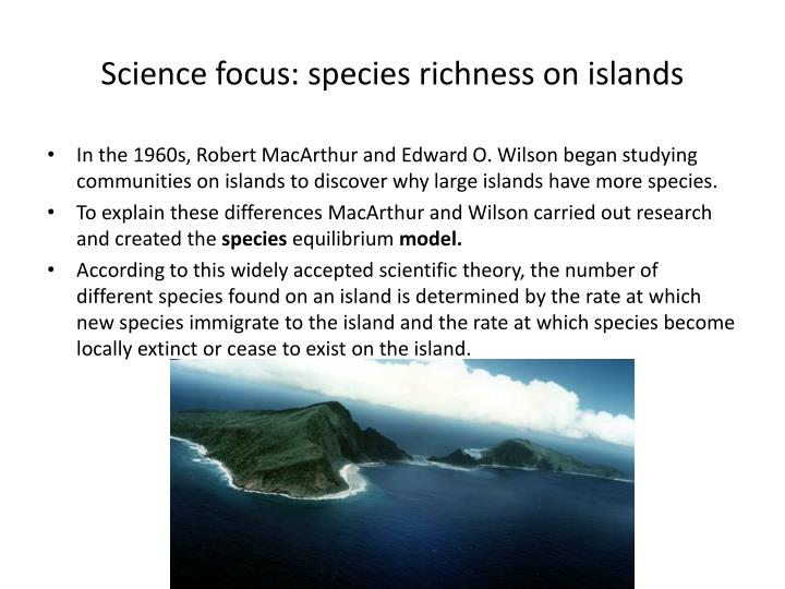 Science focus: species richness on islands