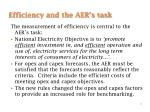 efficiency and the aer s task