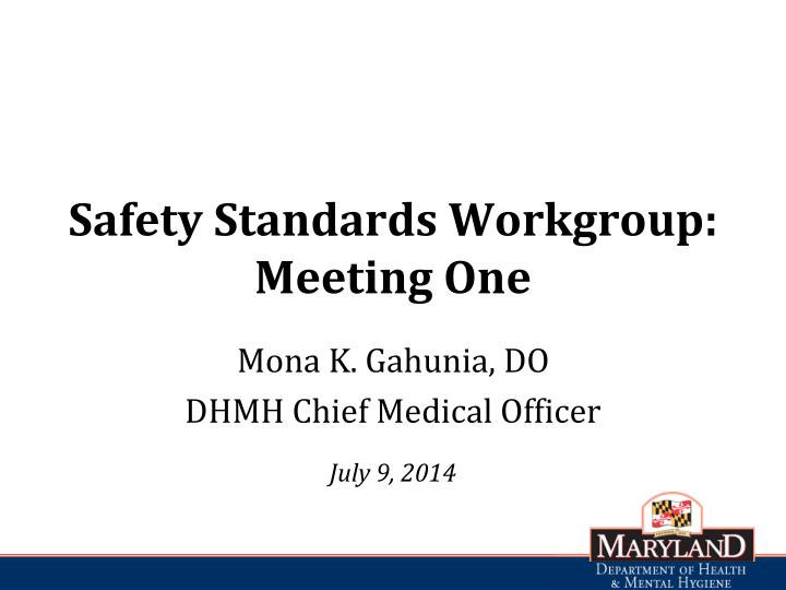 Safety standards workgroup meeting one