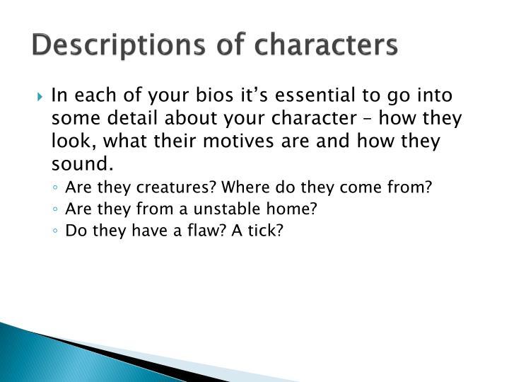 Descriptions of characters