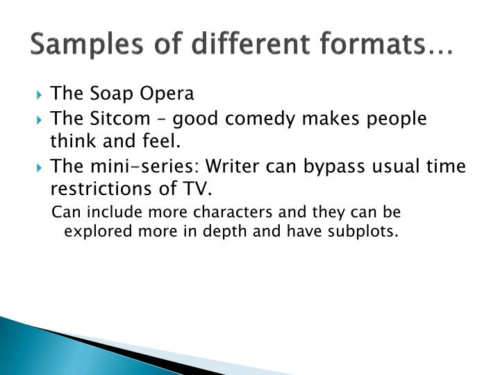 Samples of different formats…