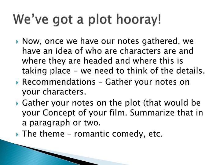 We've got a plot hooray!