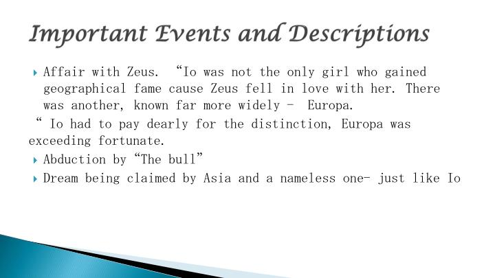 Important Events and Descriptions