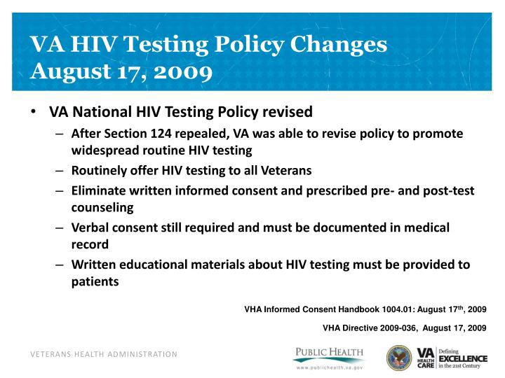 VA HIV Testing Policy Changes