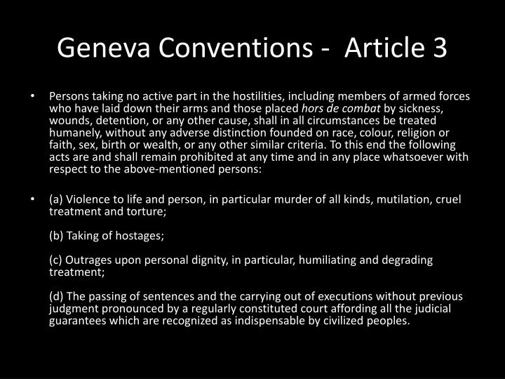Geneva Conventions -  Article 3